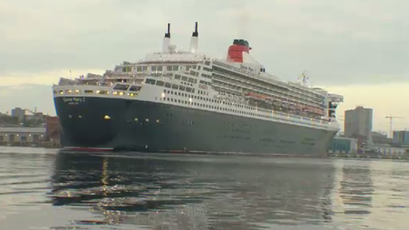 The Queen Mary 2 arrives in Halifax on July 10, 2015 for the 175th anniversary celebrations for the Cunard Shipping Line.
