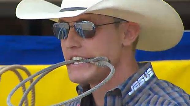 Tuf Cooper is seen here ahead of his run on Wednesday night at the Calgary Stampede. Officials disqualified Cooper for whipping his horse, Rio, with a rope.
