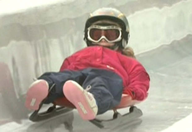 Eight-year-old Madeline Blaser speeds down the Luge track in Whistler, B.C. Nov. 9th, 2008.