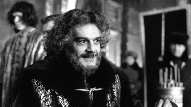 In this February, 1985 file photo, actor Omar Sharif appears as Prince F. Romodanovsky Advisor to Peter in the Miniseries 'Peter The Great' in the ancient Russian town of Suzdal. (AP / Boris Yurchenko)