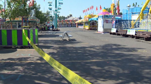 A section of the Calgary Stampede midway was cordoned off on July 9, 2015 after an altercation between two groups.