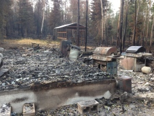 Fire damage in Waden Bay, Saskatchewan