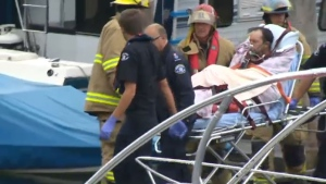 A man is taken to hospital after being seriously injured after a boat disintegrated on Sproat Lake on July 11, 2015.