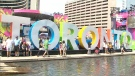 The Pan Am Toronto sign in Nathan Phillips Square is pictured on Sunday, July 12, 2015.