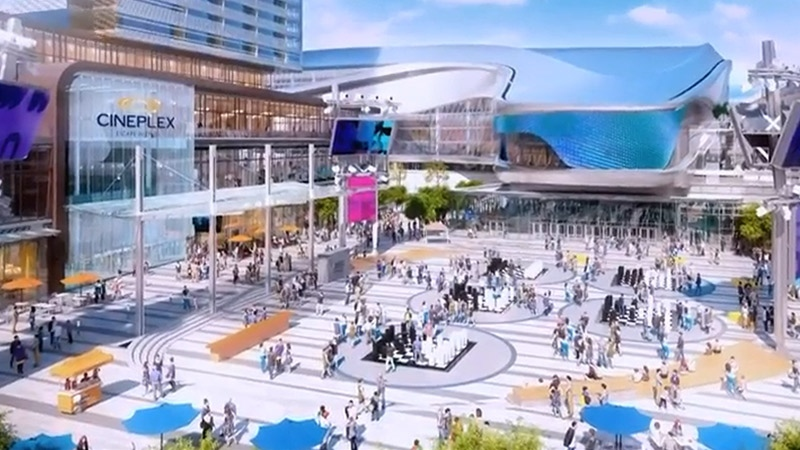 Artist rendering of an outdoor plaza connected to Rogers Place in Edmonton. Supplied
