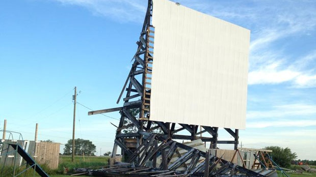 A portion of the Shamrock Drive-in's screen near Killarney, Man. was damaged in another storm on July 11, 2015. (Photo from Shamrock Drive-In /Facebook)