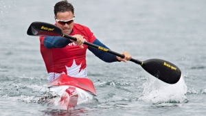 Canada's Mark de Jonge paddles his way to a gold medal in the men's K1 200m kayak race at the 2015 Pan Am Games in Welland, Ont., Tuesday, July 14, 2015. (Aaron Lynett /  THE CANADIAN PRESS)
