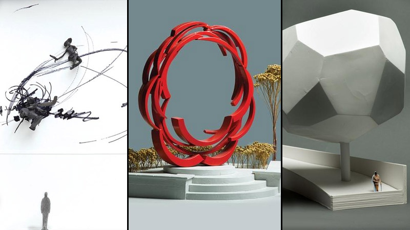 Officials with the City of Edmonton and Edmonton Arts Council unveiled three public art concepts for Rogers Place on Tuesday, July 14 - pieces are entitled Figures in Motion, Skater's Arch and Essential Tree. Supplied.
