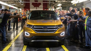 A 2015 Ford Edge at the Ford Assembly Plant in Oakville, Ont., on February 26, 2015. (THE CANADIAN PRESS / Chris Young)