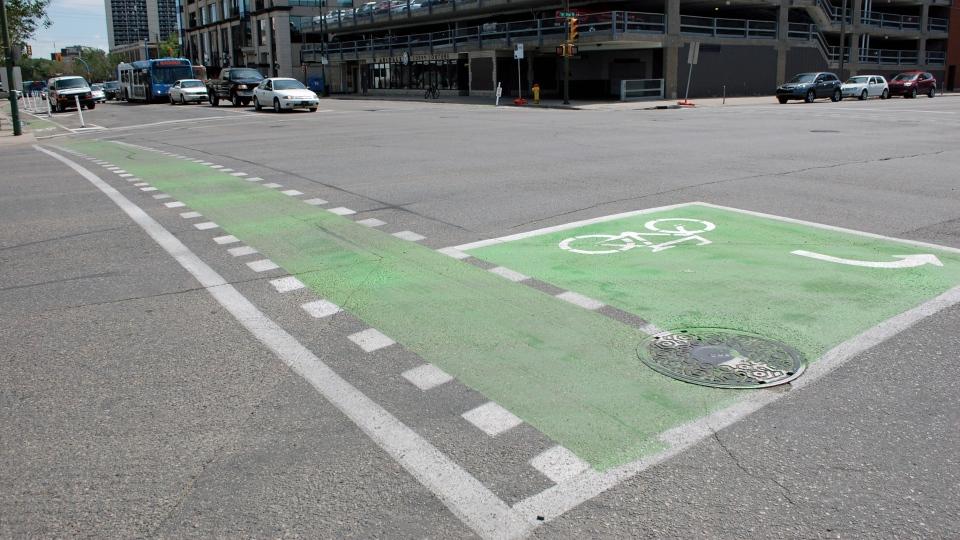 Protected bike lane Saskatoon