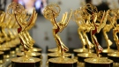 A general view at the trophy table at the 65th Primetime Emmy Awards held at Nokia Theatre, in Los Angeles are shown in this photo provided by the Academy of Television Arts and Sciences on Sept. 22, 2013.