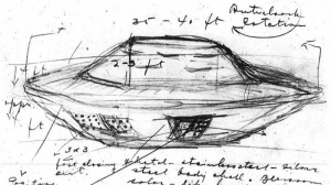 A handout photo of a sketch of a UFO reportedly observed in Falcon Lake, Man. in 1967.