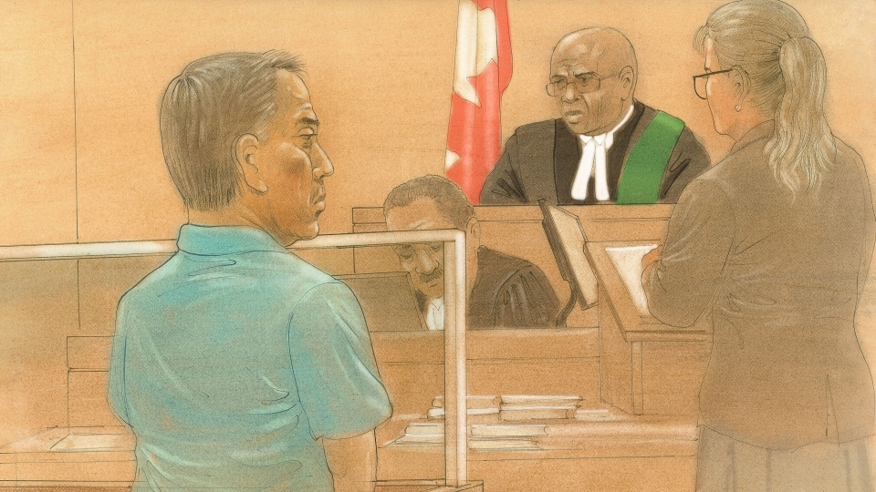 A court sketch shows Danilo Alcala, 61, in a Toronto courtroom on Friday, July 17, 2015. (John Mantha / CTV Toronto)