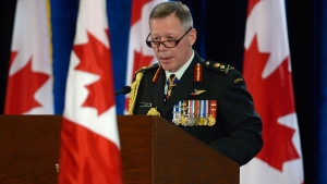 New Chief of Defence Staff Gen. Jonathan Vance speaks during a change of command ceremony in Ottawa, Friday, July 17, 2015. (Adrian Wyld / THE CANADIAN PRESS)