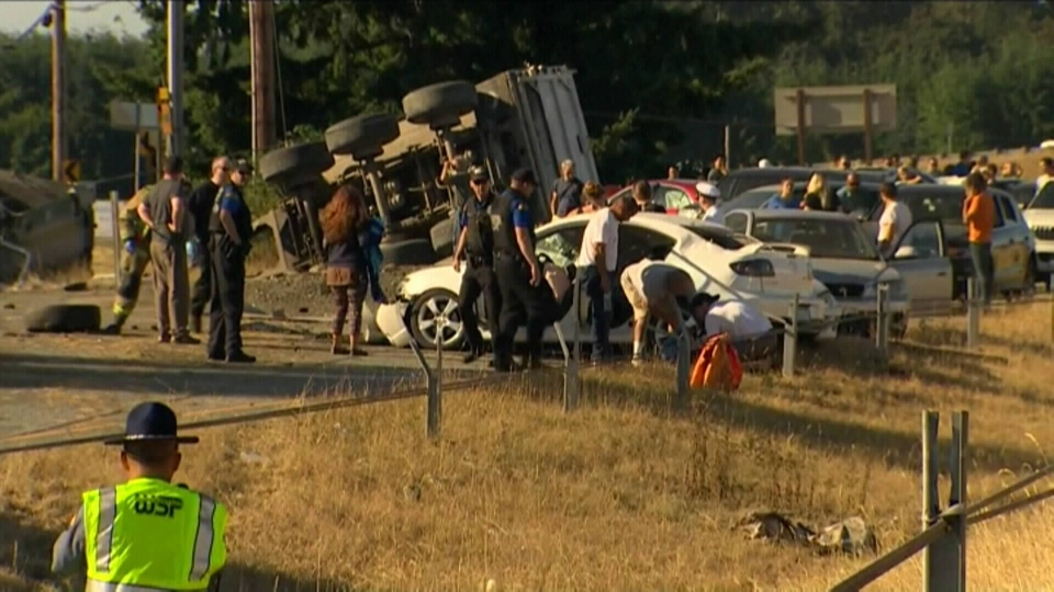 The accident took place at 8:30 a.m. Saturday near Mount Vernon, Washington on the I-5 Highway.