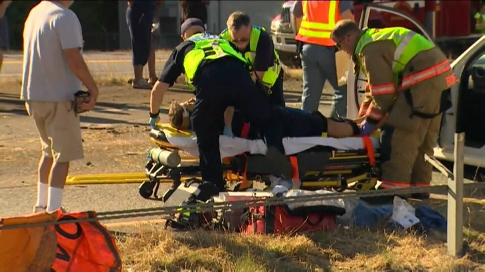 Six people were injured in the crash, including two that were airlifted in critical condition to a Seattle hospital.