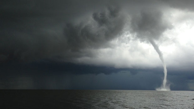 Melanie Groen was fishing on the beach Saturday afternoon and took this photo of a funnel cloud starting to form.