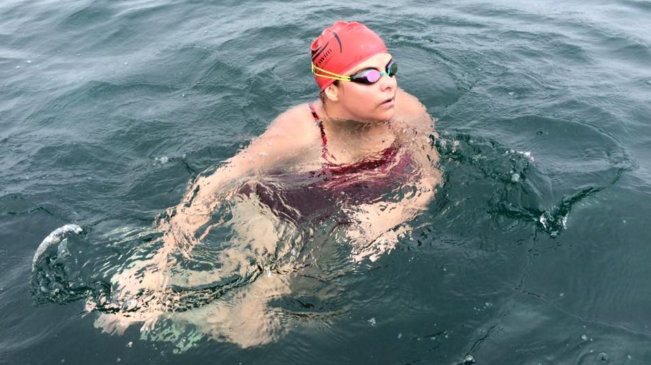 In a picture from Facebook, Brenda Lussier is seen during her swim across Lake Erie on Saturday July 19, 2015.