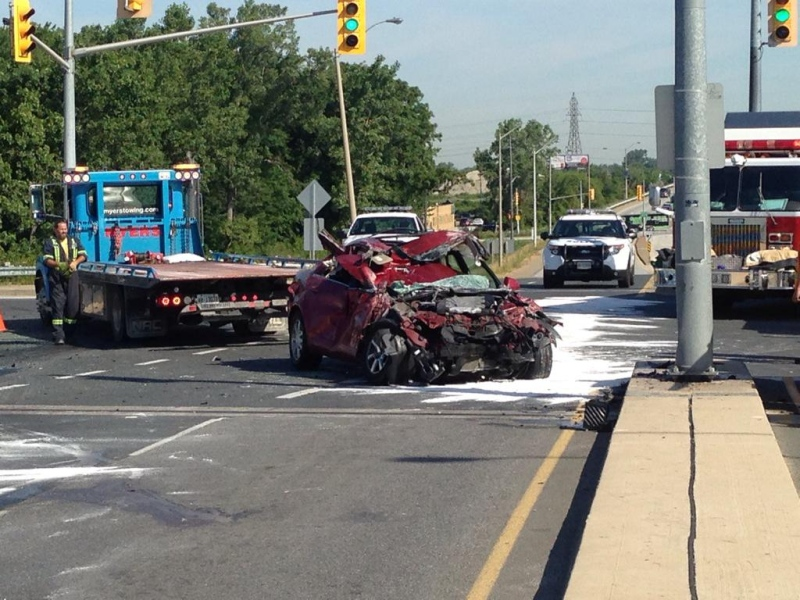A crash closed the Central Avenue overpass near E.C. Row Expressway in Windsor, Ont., on Monday July 20, 2015.(Sacha Long / CTV Windsor)