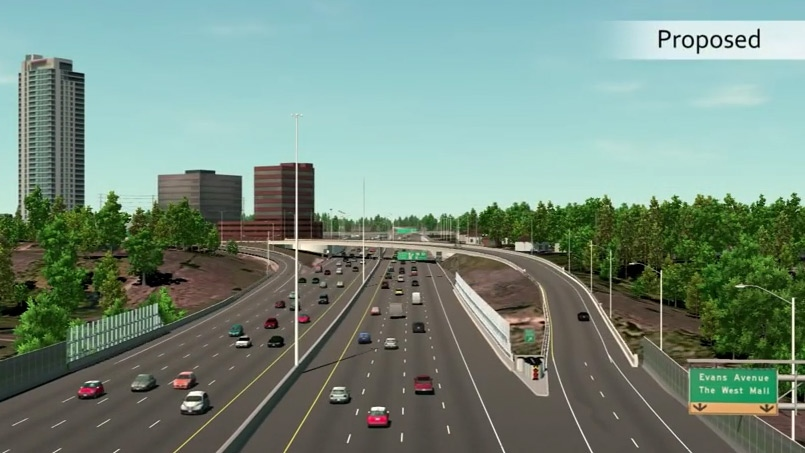 An artist's rendering shows the proposed changes to the QEW at Dixie Road.