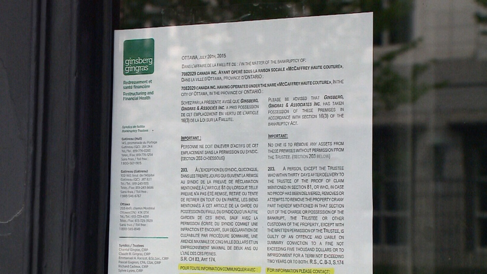 Notice of bankruptcy for McCaffrey Haute Couture bridal shop in downtown Ottawa in the store's window on July 21, 2015.