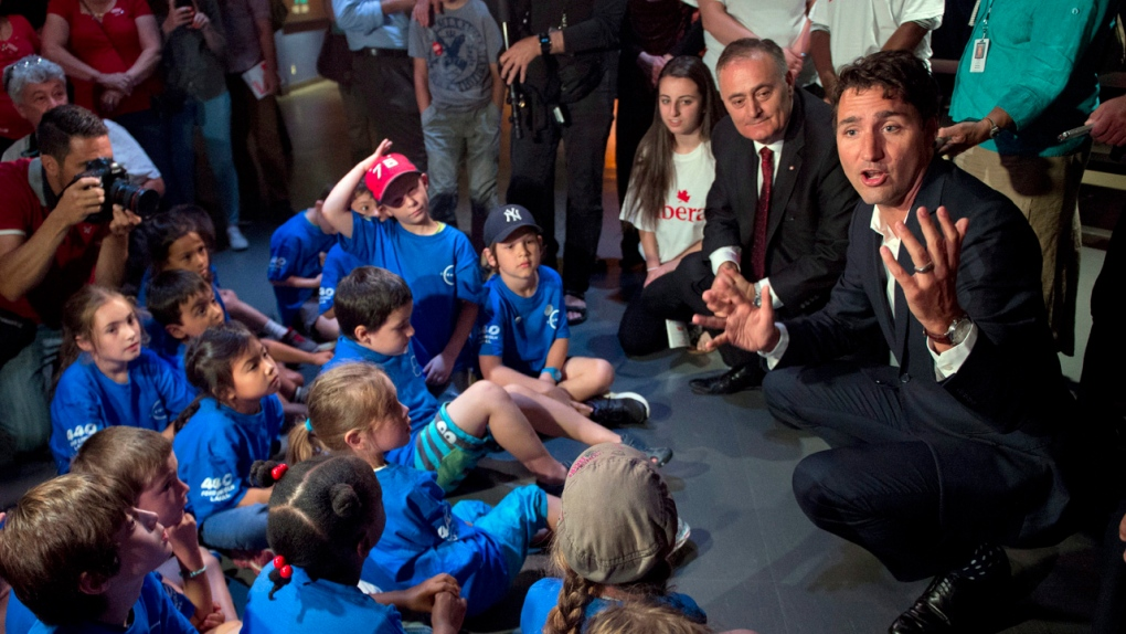 Justin Trudeau speaks to children at a space camp