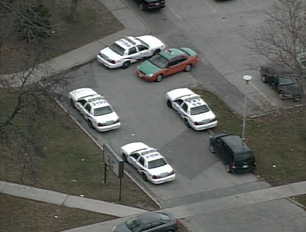 Police cars gather outside C.W. Jeffreys C.I. after a reported stabbing at the school on Tuesday, Nov. 11, 2008.