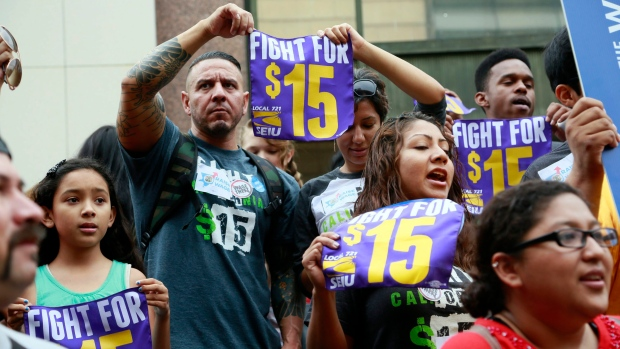 Los Angeles county minimum wage protesters