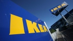 This is a Wednesday, June 18, 2008 file photo of the Ikea logo is shown on the side of the warehouse-sized store during the grand opening of New York City's first Ikea. (Mark Lennihan / AP Photo)