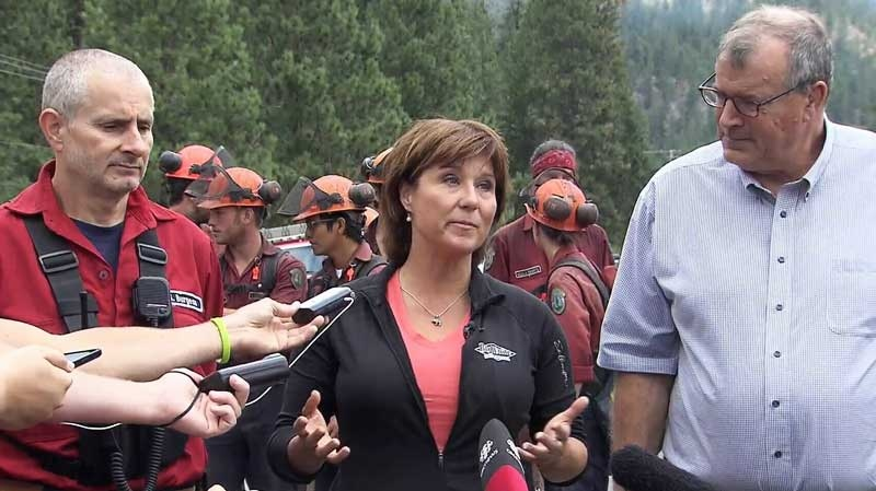B.C. Premier Christy Clark provides an update on the wildfire burning near West Kelowna. July 22, 2015. (CTV)