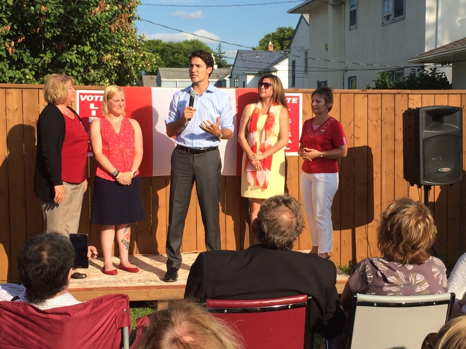 Justin Trudeau stops at Kildonan-St. Paul Liberal candidate MaryAnn Mihychuk's campaign office on Main Street Wednesday evening.