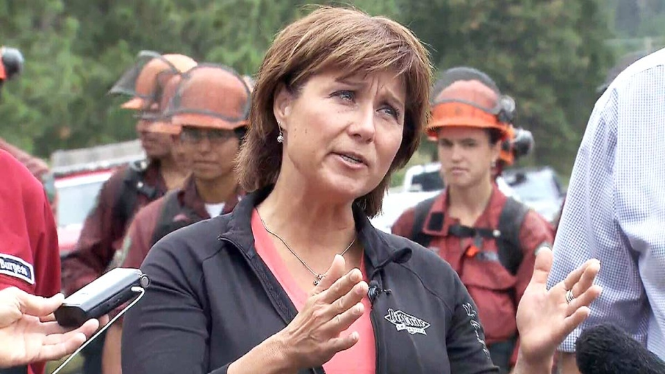 British Columbia Premier Christy Clark speaks to reporters about the wildfire situation in Kelowna, B.C., Wednesday, July 22, 2015.