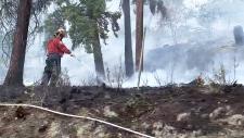 Firefighter at the Westside Road fire near Kelowna