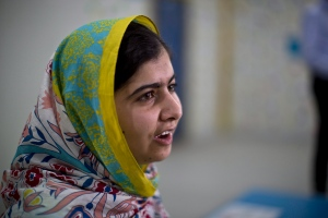 Nobel Peace Prize laureate Malala Yousafzai, 18, speaks during her visit to Azraq refugee camp in Jordan, Monday, July 13, 2015. (AP / Muhammed Muheisen)