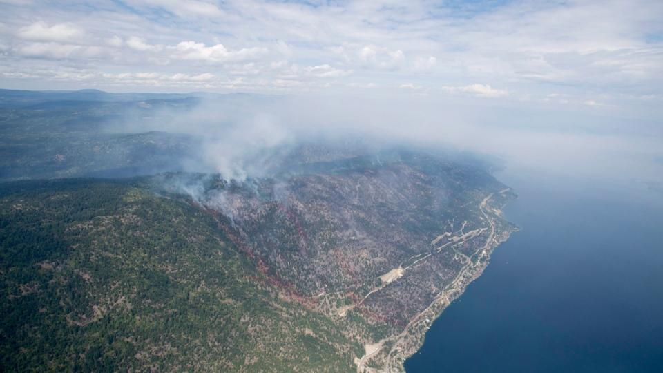 A wild fire is seen burning along West Side Road in West Kelowna, B.C., on July 23, 2015. (THE CANADIAN PRESS / Jonathan Hayward)