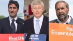 Left to right, Liberal Leader Justin Trudeau, Prime Minister Stephen Harper and NDP Leader Tom Mulcair in a combination photo. (Steve Lambert / Jacques Boissinot / Sean Kilpatrick / THE CANADIAN PRESS)