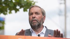 NDP Leader Tom Mulcair speaks in Waterloo, Ont., on Friday, July 24, 2015. (Hannah Yoon / THE CANADIAN PRESS)