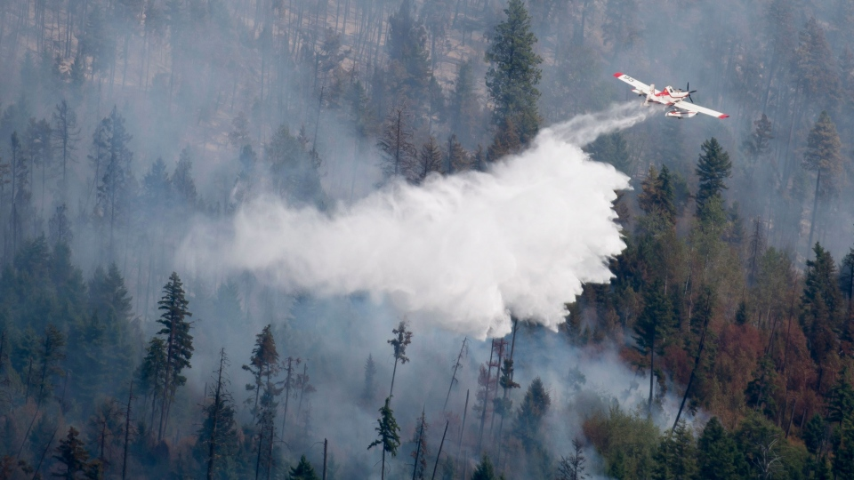 A water tanker drops a load of water on a wild fire in West Kelowna, B.C. Thursday, July 23, 2015. (Jonathan Hayward / THE CANADIAN PRESS)
