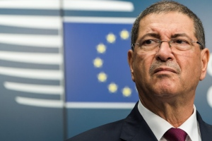 Tunisia's Prime Minister Habib Essid addresses the media at the EU Council building in Brussels on Monday July 20, 2015. (AP/Geert Vanden Wijngaert)