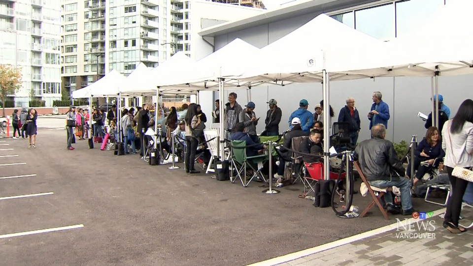 Hundreds of prospective condo-owners lined up for a chance to buy property at a new development on the waterfront in Vancouver's False Creek area.