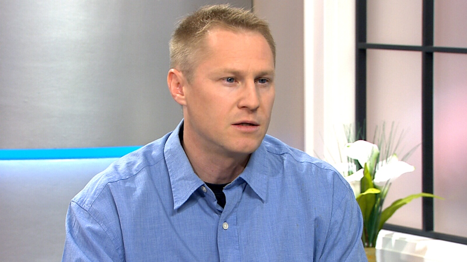 Tyler Flockhart speaking on Canada AM about his cat collar that tracks the movement and behaviour of Canadian stray and feral cats on July 27, 2015.