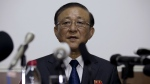 North Korean Ambassador to China Ji Jae Ryong speaks at a press conference held at the North Korean Embassy in Beijing on July 28, 2015. Ji says that his country has no interest in an Iran-style nuclear disarmament deal. (AP / Andy Wong)