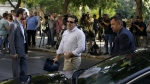 Greece's Prime Minister Alexis Tsipras arrives at Syriza party headquarters for a meeting with senior party officials in Athens on July 27, 2015. (AP / Thanassis Stavrakis)