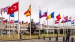 NATO country flags wave outside NATO headquarters in Brussels on July 28, 2015. (Geert Vanden Wijngaert / AP)