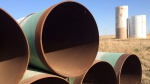 A yard in Gascoyne, ND., which has hundreds of kilometres of pipes stacked inside it that are supposed to go into the Keystone XL pipeline, should it ever be approved are shown shown on Wednesday April 22, 2015. THE CANADIAN PRESS/Alex Panetta