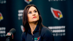Arizona Cardinals training camp coach Dr. Jen Welter speaks at the teams' training facility in Tempe, Ariz. on Tuesday, July 28, 2015. (AP / Matt York)