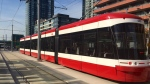 A new Bombardier-made streetcar seen on Spadina Avenue July 29. (Courtney Heels/CP24)