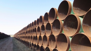 Hundreds of kilometres of pipes stacked for the Keystone XL pipeline, in Gascoyne, ND., on April 22, 2015. (Alex Panetta / THE CANADIAN PRESS)