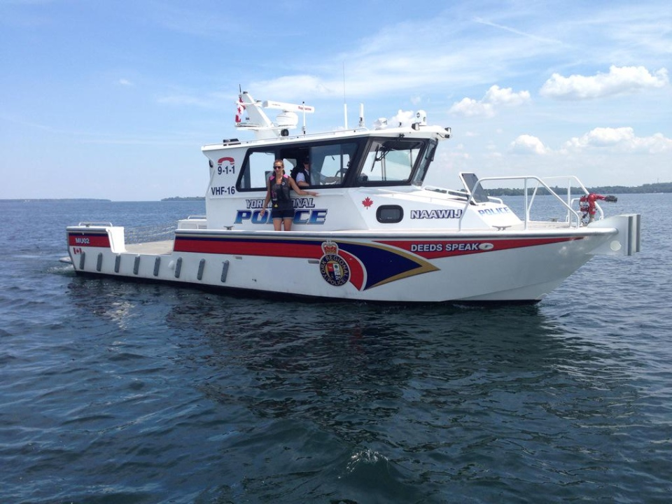 The York Regional Police Marine Unit can be seen on Lake Simcoe on Wednesday, July 29, 2015. (Heather Butts/ CTV Barrie)