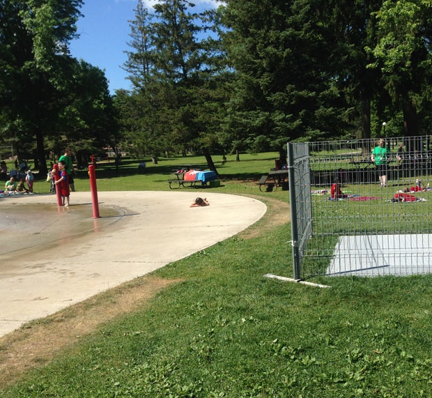 A metal grate at Victoria Park is fenced off while officials review safety concerns. (July 30, 2015)